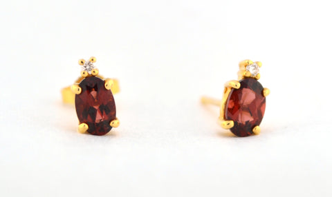 E-046 Garnet & Diamond Earrings