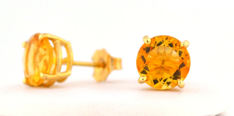 E-063 Citrine Stud Earrings