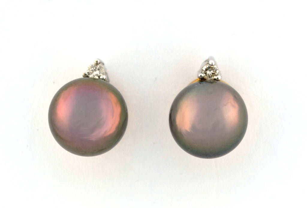 E-086 Tahitian Pearl & Diamond Earrings