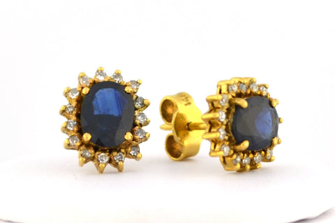 E-228 Sapphire & Diamond Earrings