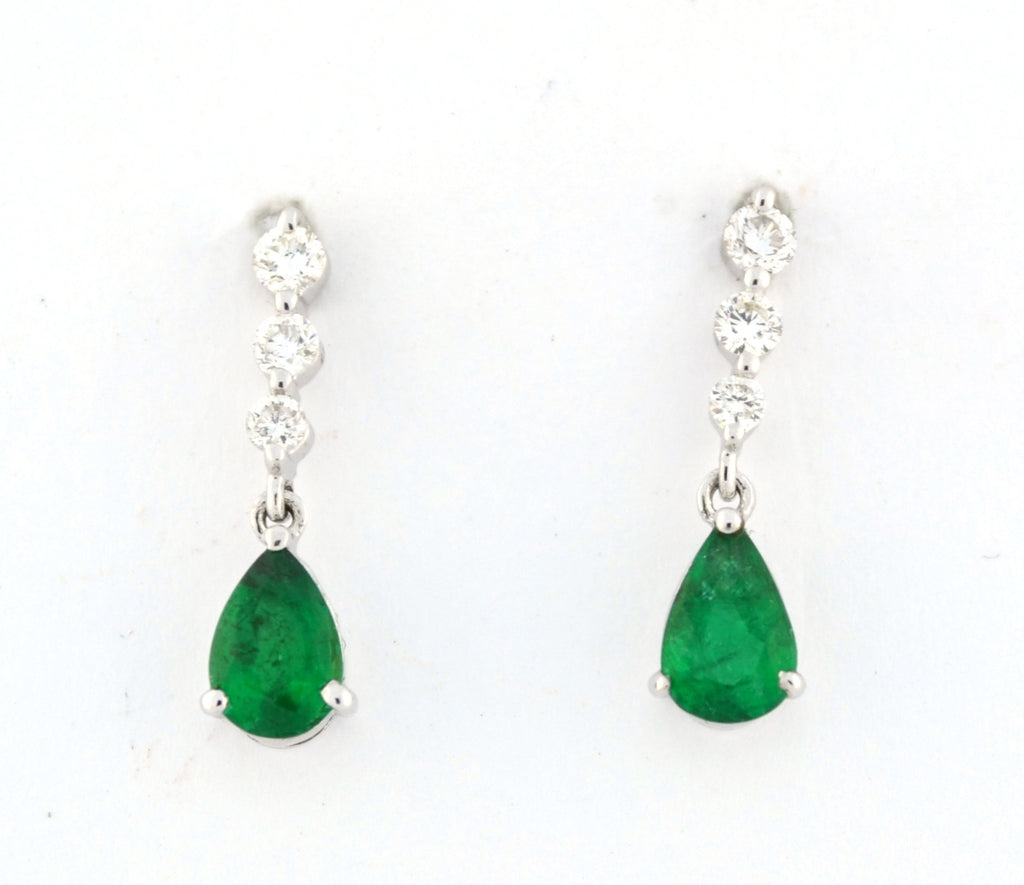 E-233 Emerald & Diamond Dangle Earrings