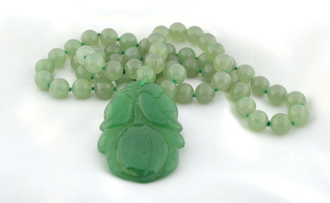 ESN-004 Jade Bead Necklace w/Carved Pendant