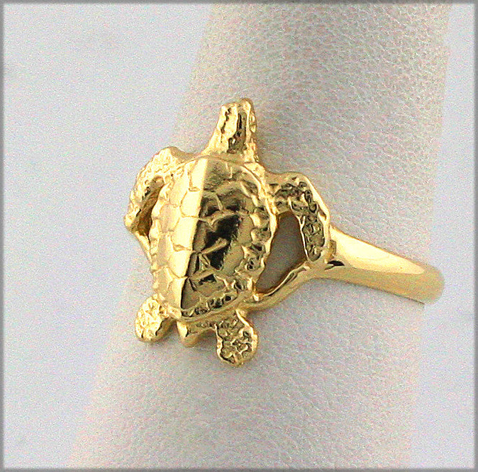 MR-115 Small Green Sea Turtle Ring 14K
