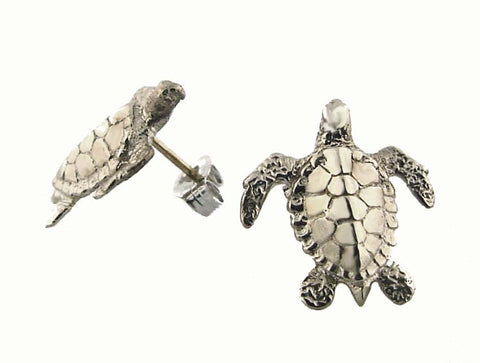 ME-112W White Gold Turtle Earrings