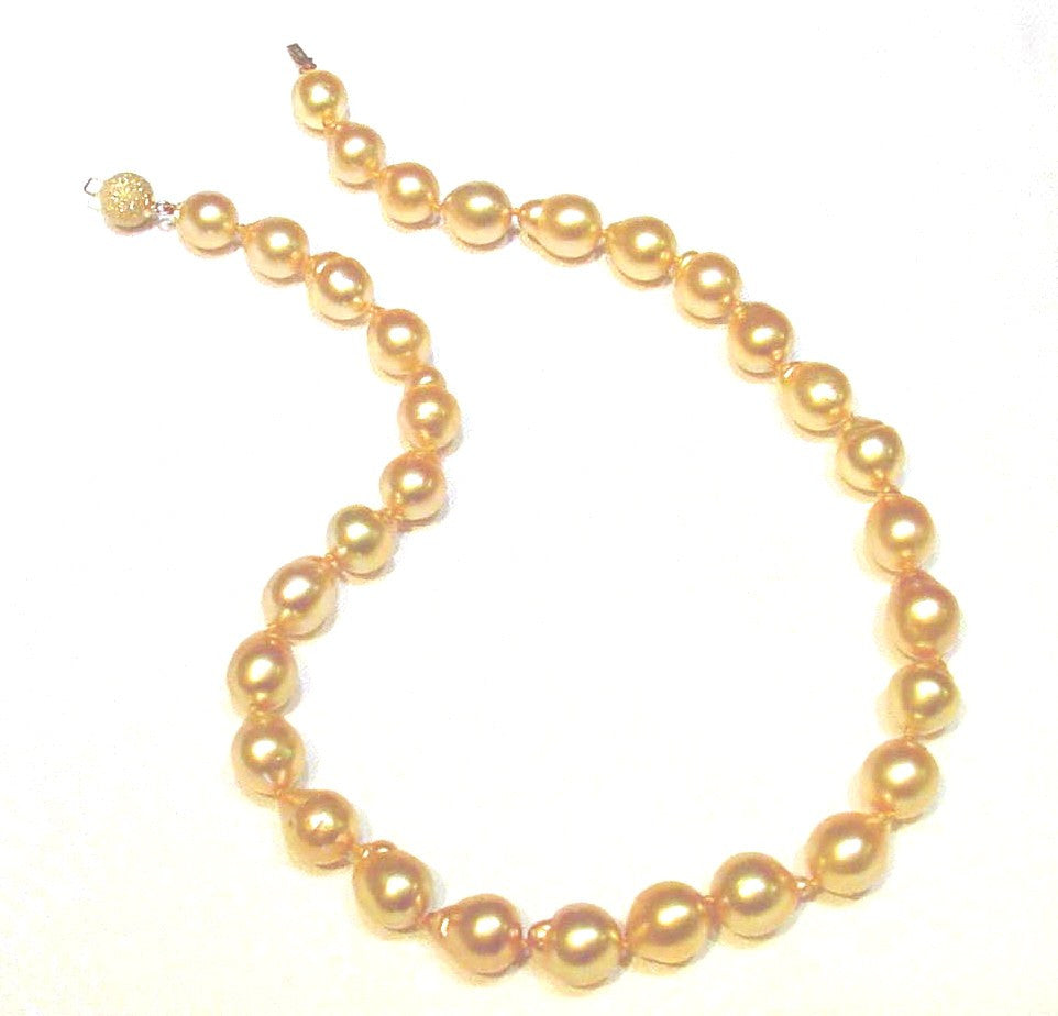 N-050 Golden South Sea Baroque Pearl Necklace