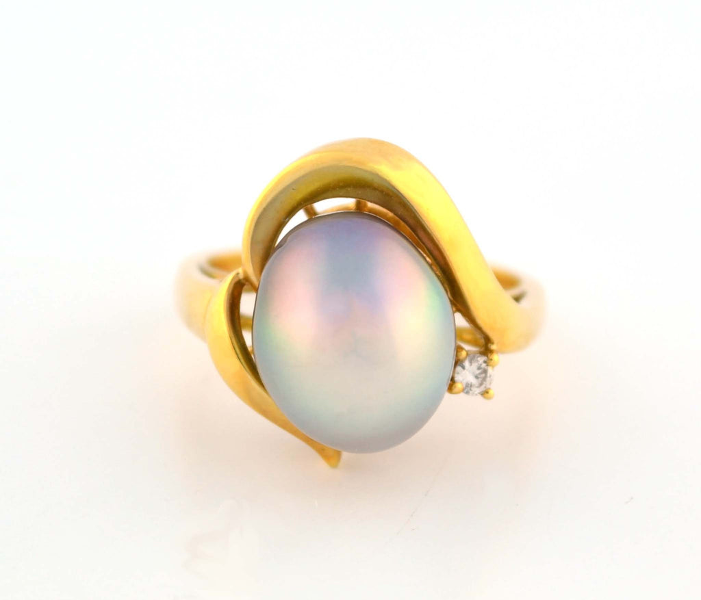 R-667 Tahitian Pearl & Diamond Ring
