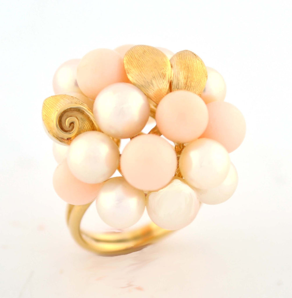 R-068 Pink Coral and Pearl Ring