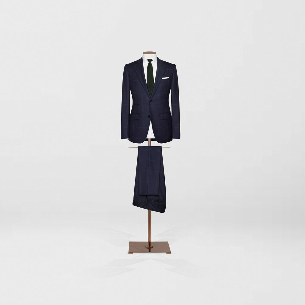 Notch lapel two piece | Large navy check - Tailor & Co Sydney.