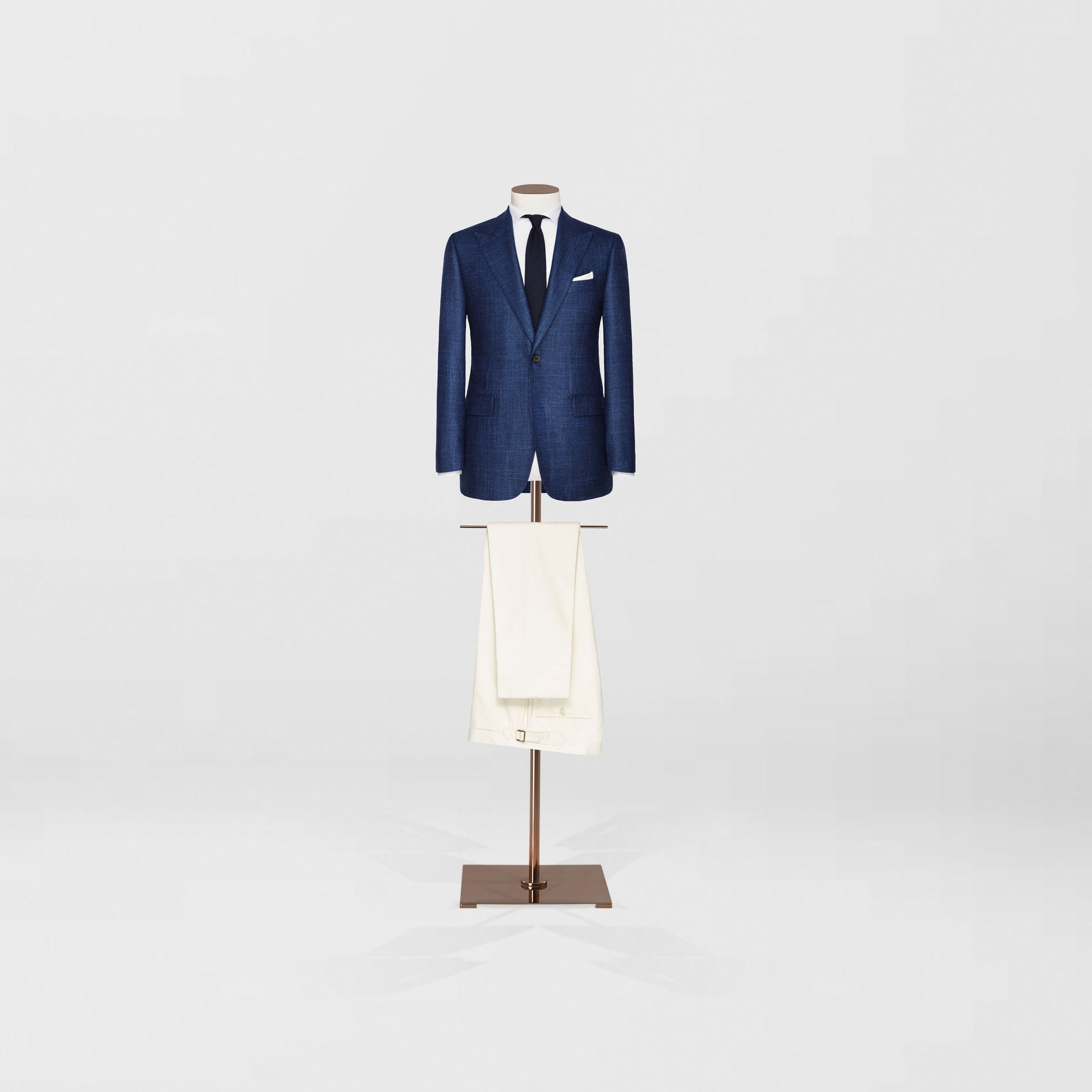 Single button peak lapel sports jacket & cotton trouser - Tailor & Co Sydney.