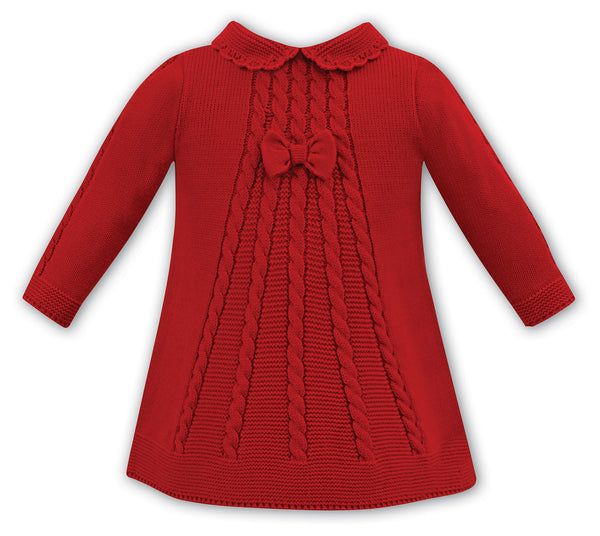 AW18 Sarah Louise Baby Girls Red Knitted Dress 008056