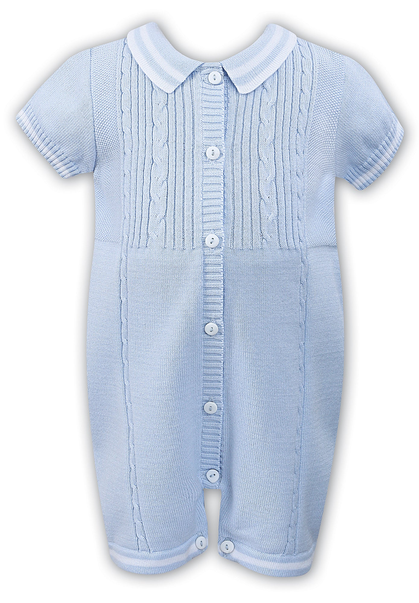 c9ab69a42 SS19 Sarah Louise Baby Boys Knitted Blue Romper – Liquorice Kids