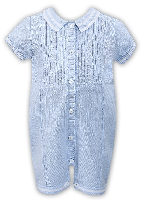 SS19 Sarah Louise Baby Boys Knitted Blue Romper