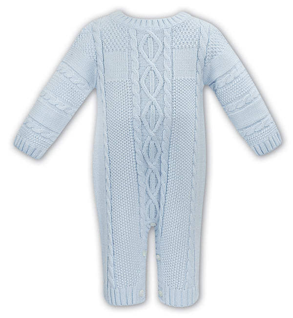 AW20 Sarah Louise Baby Boys Blue Knitted Romper