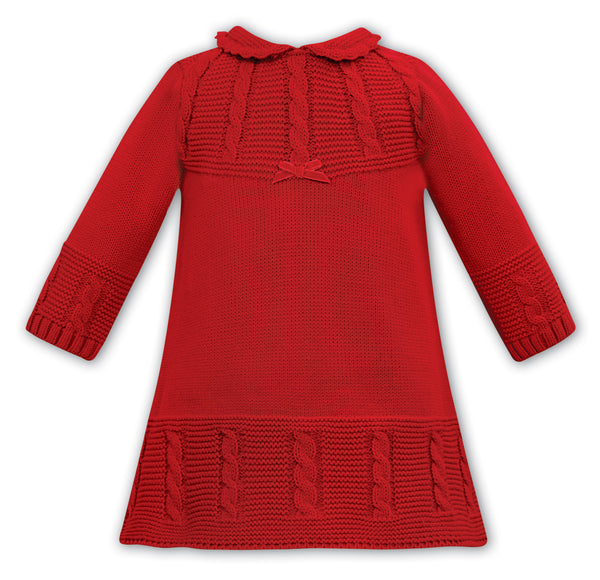 AW20 Sarah Louise Baby Girls Red Knitted Dress