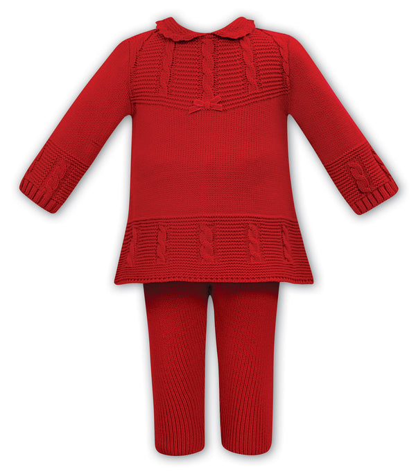 AW20 Sarah Louise Baby Girls Red Knitted Two-Piece Set