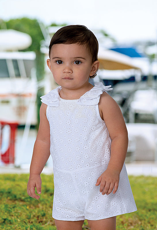 SS19 Sarah Louise Girls White Bow Playsuit