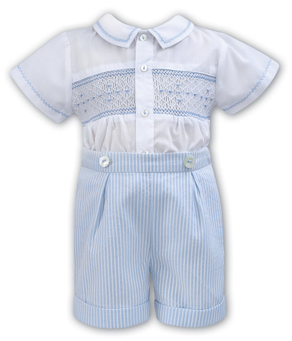 SS18 SARAH LOUISE WHITE BLUE HAND SMOCKED ROMPER 011125
