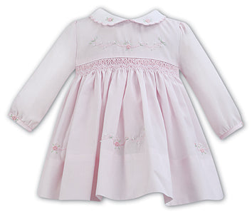 AW18 Sarah Louise Baby Girls Pink Smocked Dress 011272