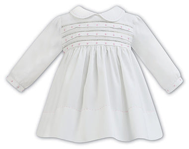 AW18 Sarah Louise Baby Girls Ivory & Blue Dress 011286
