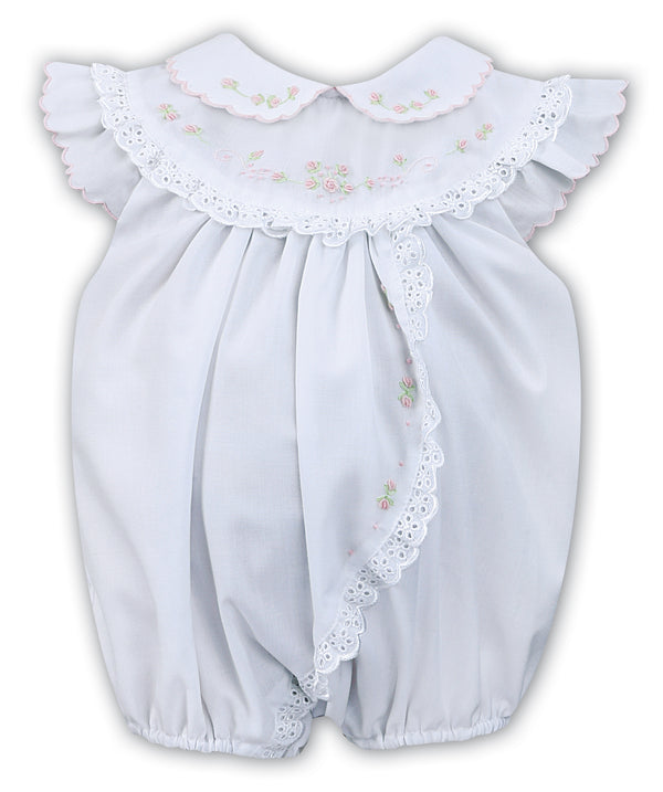 15512bf71e54e SS19 Sarah Louise Baby Girls White Hand Embroidered Romper