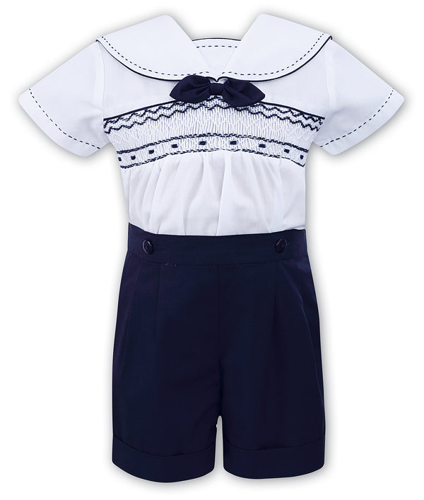 SS19 Sarah Louise Baby Boys White & Navy Blue Sailor Shorts Set
