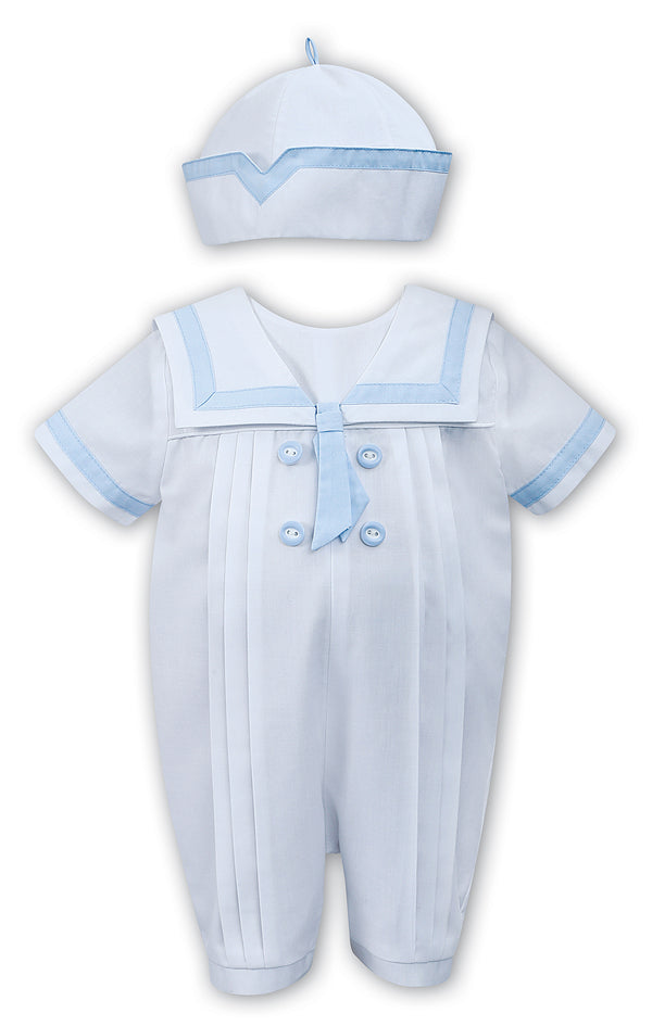 SS19 Sarah Louise Baby Boys White & Baby Blue Sailor Romper & Hat Set