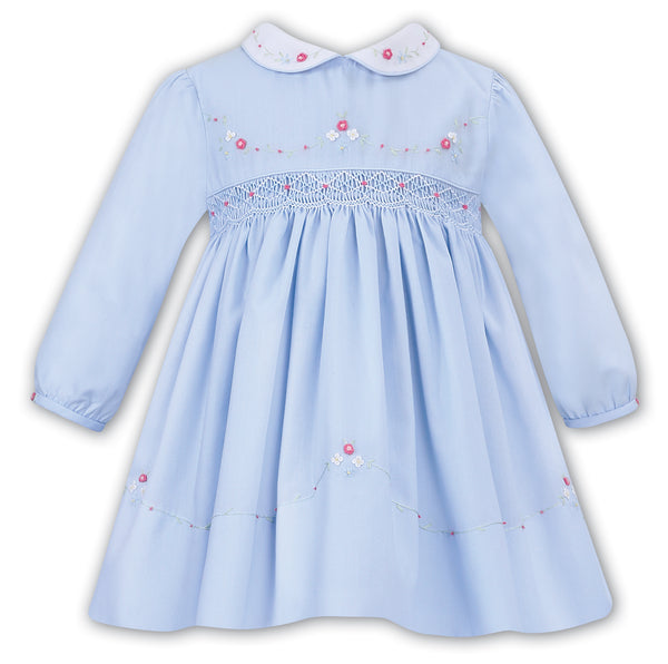 AW19 Sarah Louise Baby Girls Blue Smocked Dress