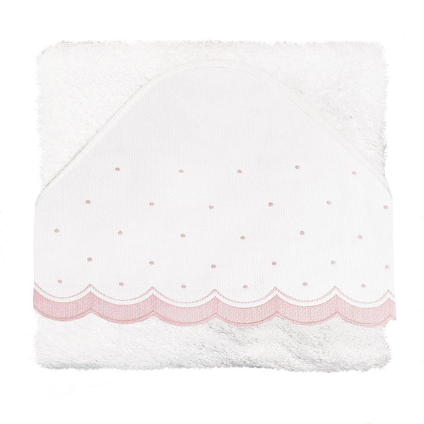 Uzturre White & Pink Spots Baby Hooded Bath Towel