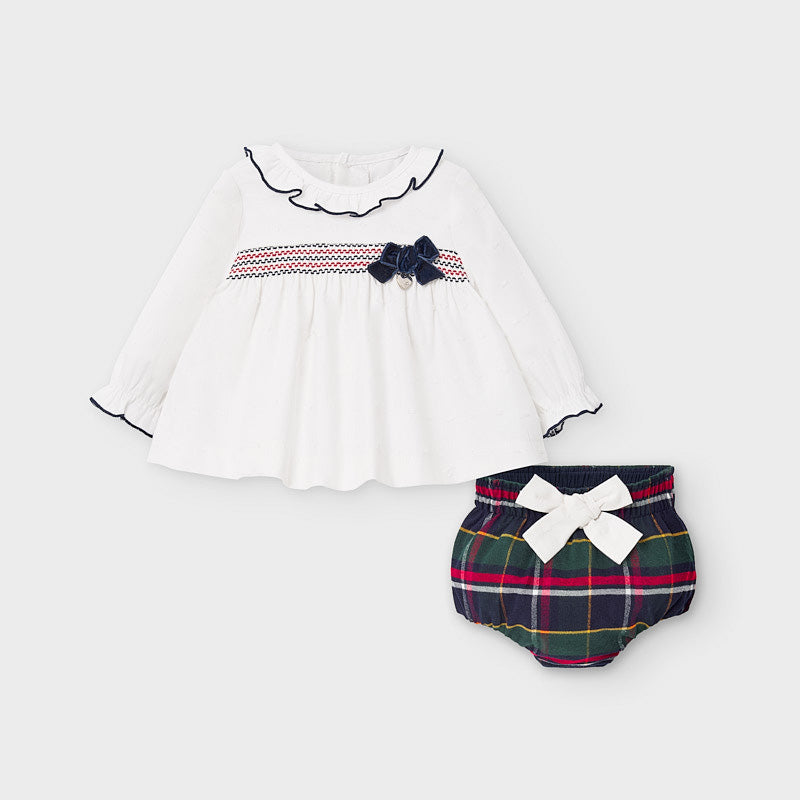 AW20 Mayoral Baby Girls Tartan Jam Pants Set 2213