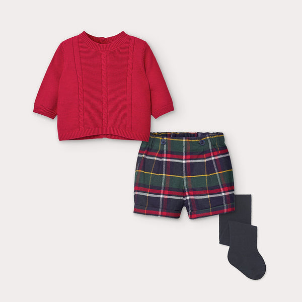 AW20 Mayoral Baby Boys Red & Navy Blue Tartan Short Set 2218