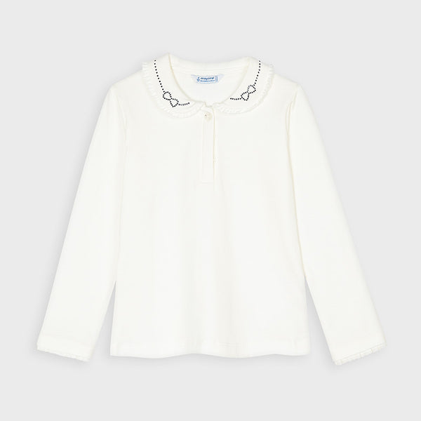 AW20 Mayoral Girls Ivory Diamante Bow Top 131