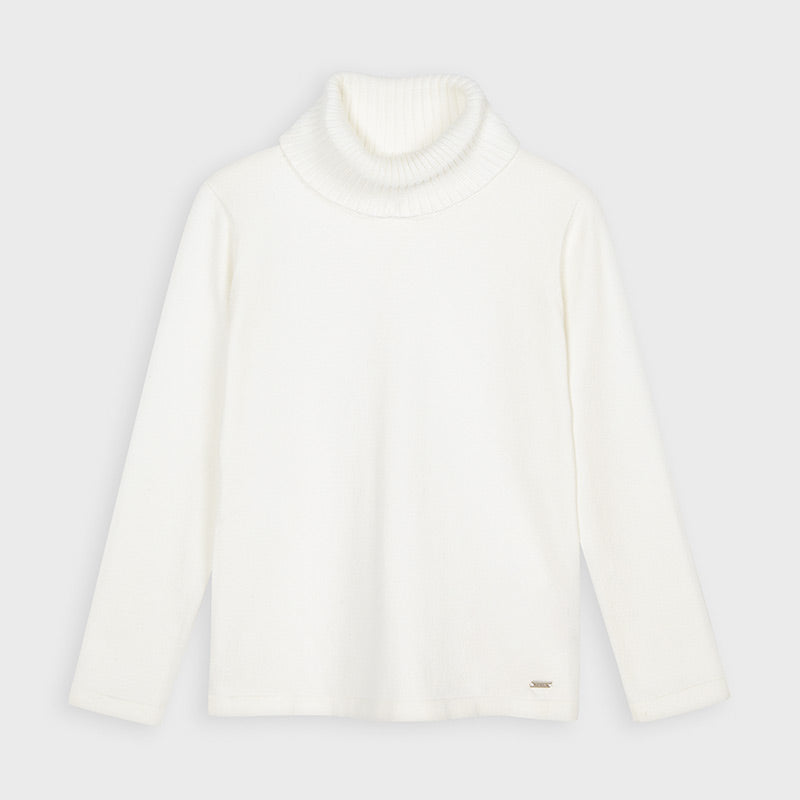 AW20 Mayoral Girls Cream Roll Neck Knitted Top 313