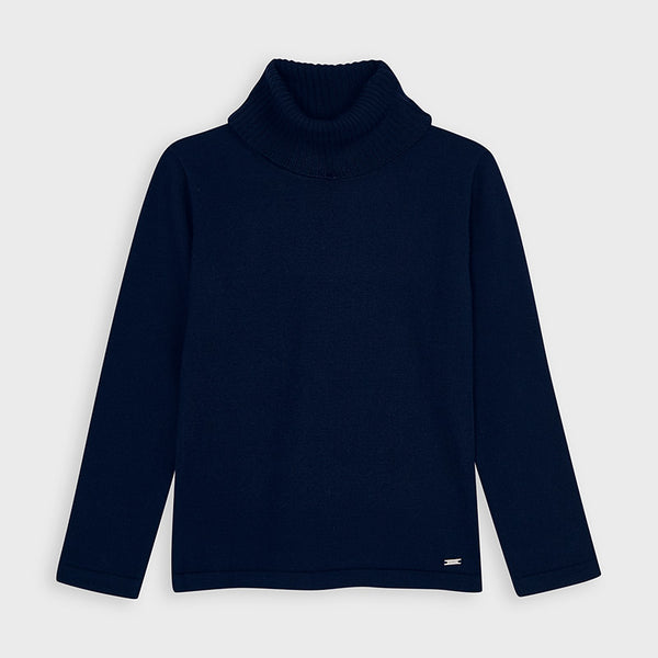 AW20 Mayoral Girls Navy Blue Roll Neck Knitted Top 313