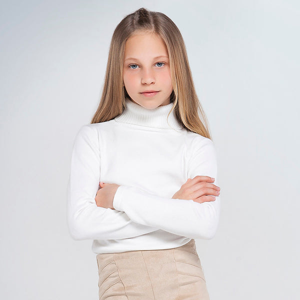 AW20 Mayoral Older Girls Ivory Roll Neck Knitted Top 345