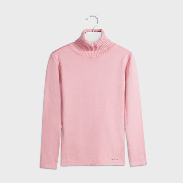 AW20 Mayoral Older Girls Pink Roll Neck Knitted Top 345