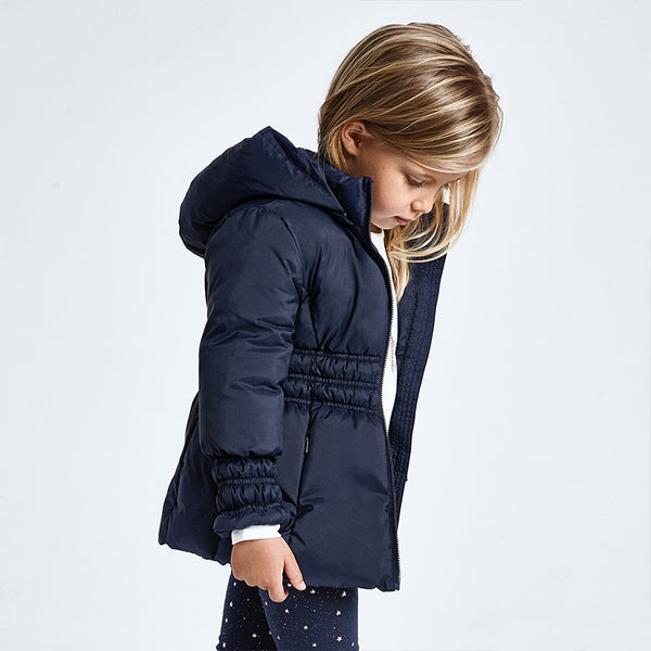 AW20 Mayoral Girls Navy Blue Hooded Coat 415