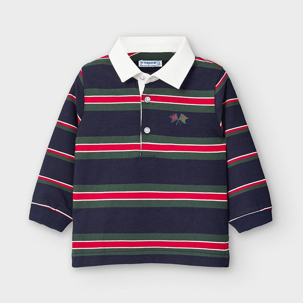 AW20 Mayoral Toddler Boys Navy Blue Stripe Polo Top 2125