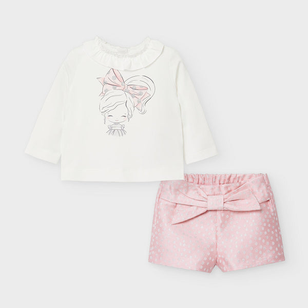 AW20 Mayoral Toddler Girls Pink & Silver Short Set 2219