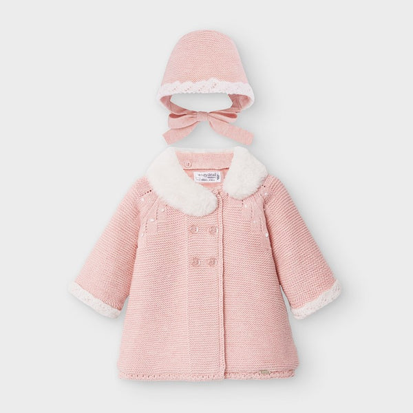AW20 Mayoral Baby Girls Pink Pram Coat & Bonnet Set 2459