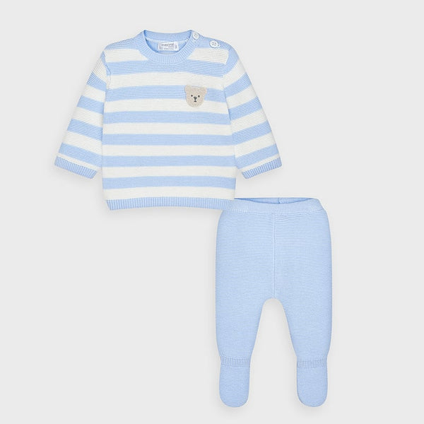 AW20 Mayoral Baby Boys Blue & Cream Knitted Set 2554