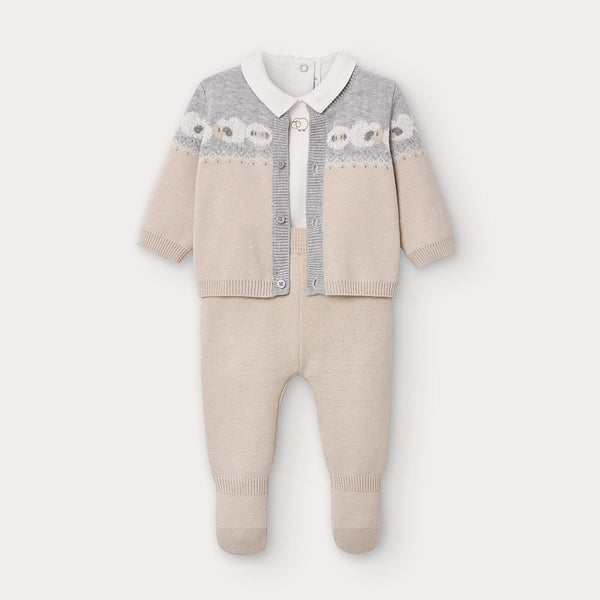 AW20 Mayoral Baby Boys Camel & Grey Knitted Three-Piece Set 2559
