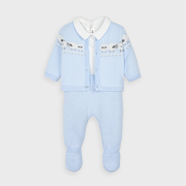 AW20 Mayoral Baby Boys Blue Knitted Three-Piece Set 2559
