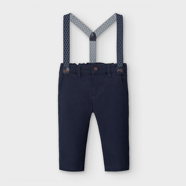 AW20 Mayoral Toddler Boys Navy Blue Chinos & Braces 2575