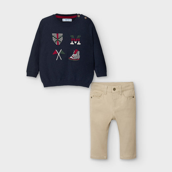 AW20 Mayoral Toddler Boys Navy Blue Flag Jumper Two-Piece Set 2588