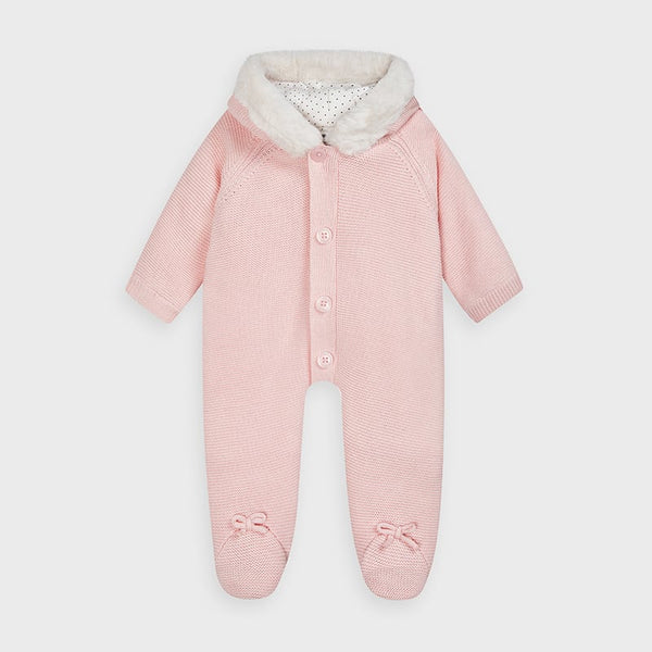 AW20 Mayoral Baby Girls Pink Knitted Pramsuit 2631