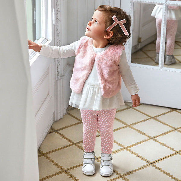 AW20 Mayoral Toddler Girls Pink Three-Piece Gilet Set 2784