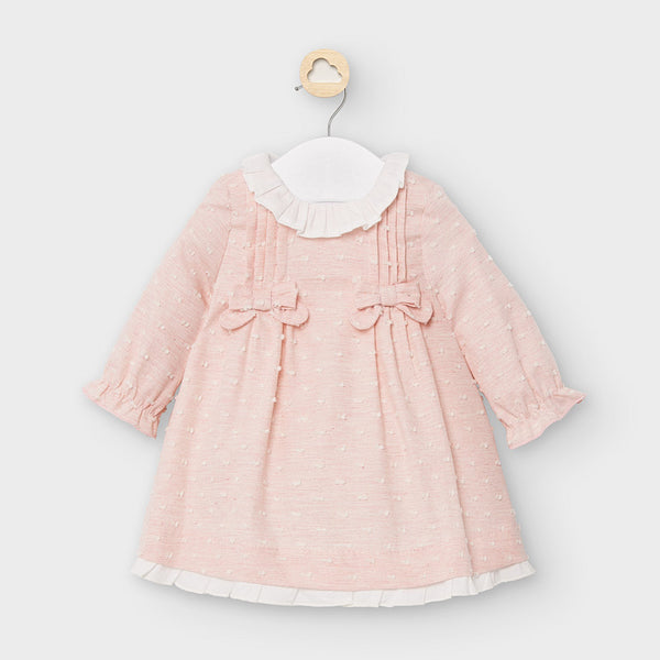 AW20 Mayoral Baby Girls Pink Bow Dress 2849