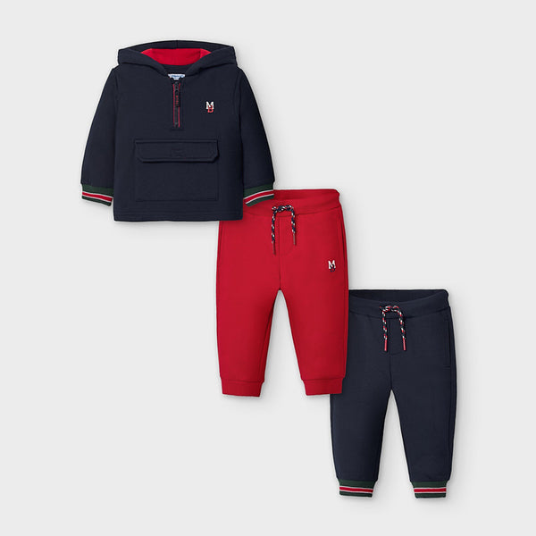 AW20 Mayoral Toddler Boys Navy Blue Three-Piece Tracksuit Set 2886