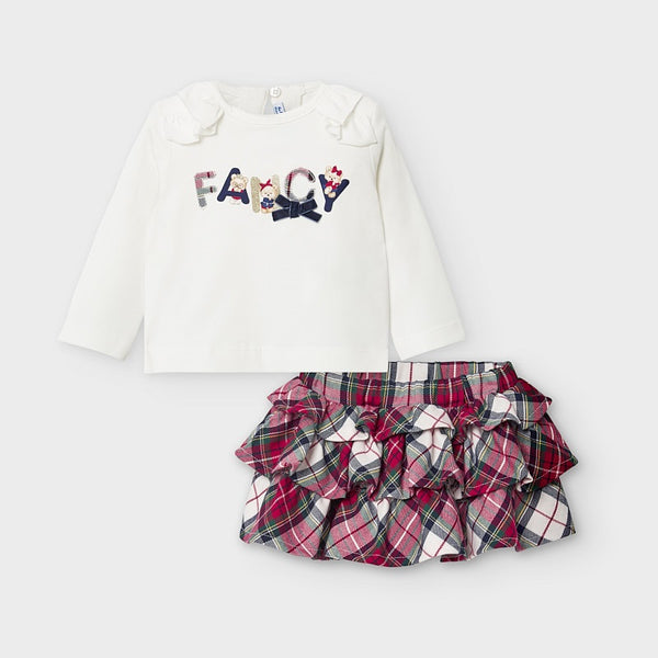 AW20 Mayoral Toddler Girls Tartan Skirt Set 2973