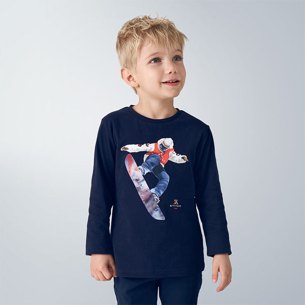 AW20 Mayoral Boys Navy Blue Snowboarder Top 4039
